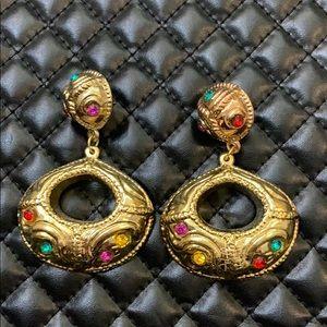 Zara Gold Faux Gemstone Door Knocker Earrings